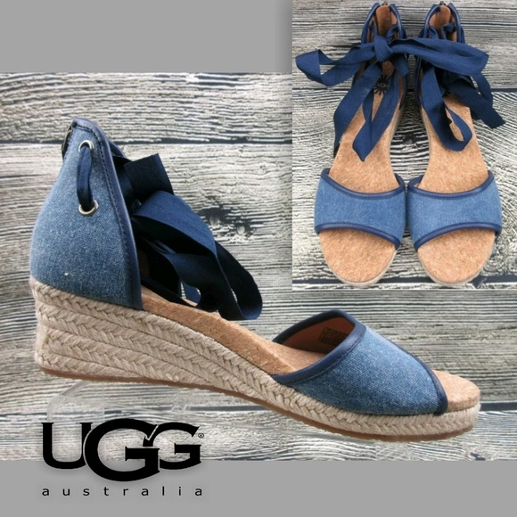 9d32fc1db92 💋 Ugg Amell Wedge Denim Chambray Sandals